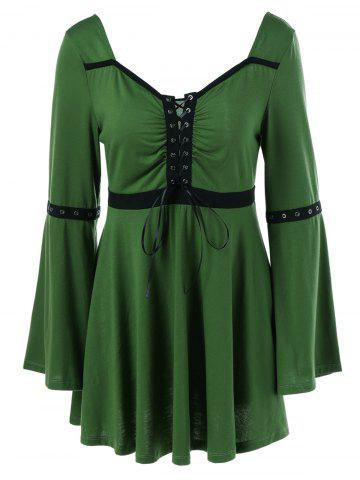 Affordable Lace-Up Flare Sleeve Peplum Blouse HUNTER GREEN M
