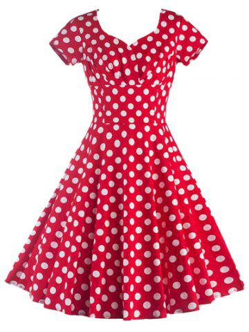 Sale Short Sleeves Polka Dot Dress