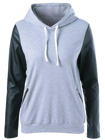 Discount PU Sleeve Zipper Pocket Hoodie