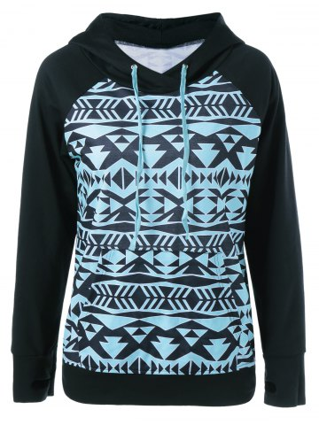 Buy Tribal Pattern Hoodie With Thumb Holes