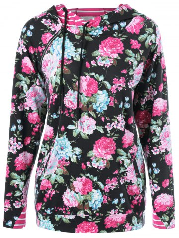 Outfit Inclined Zipper Floral Hoodie