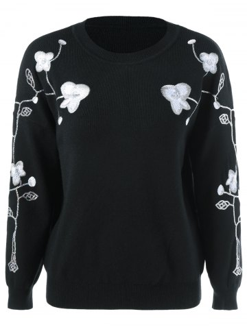 Buy Floral Embroidered Sequined Sweater