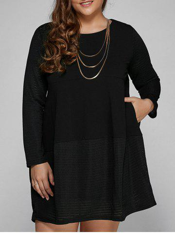 Shops Casual Long Sleeve Plus Size Mini Dress