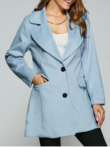 Wool Buttoned Pea Coat - Light Blue - S