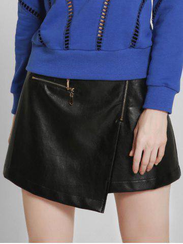 Affordable Asymmetric PU Leather A-Line Skirt BLACK XL