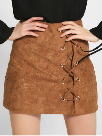 Online Lace-Up Faux Suede A-Line Skirt