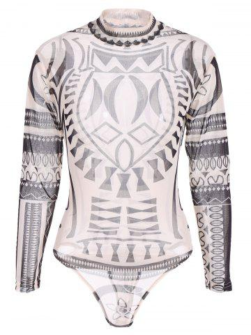 Shops See-Through Printed Bodysuit