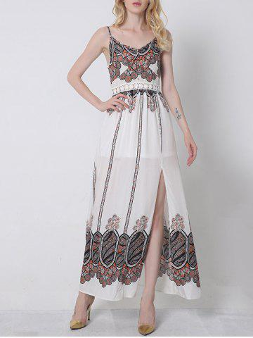 Fancy Cami Slit Vintage Printed Maxi Dress