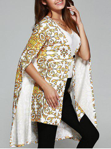 Store Asymmetric Tribal Print Cape Coat