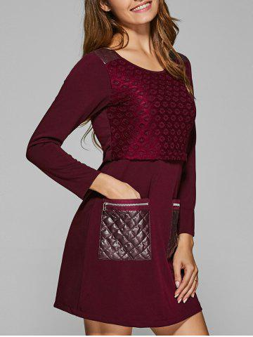 Outfit Lace Spliced Pockets A-Line Dress