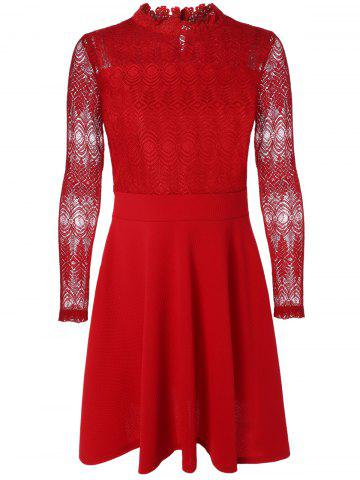 Sale Ruffled Cut Out Lace Spliced A-Line Dress
