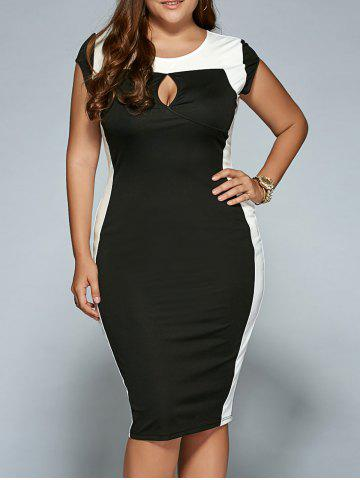 Unique Plus Size Keyhole Neck Sheath Dress