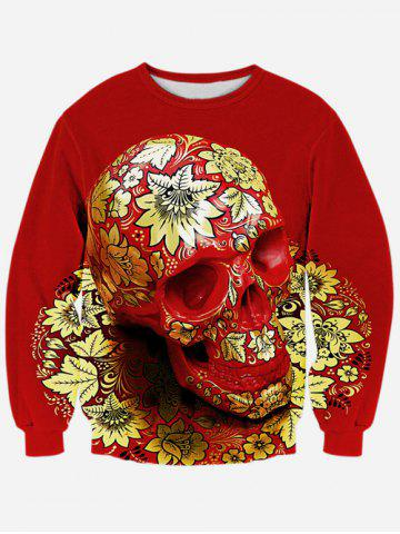 Outfit Floral Skull 3D Print Long Sleeve Crew Neck Sweatshirt