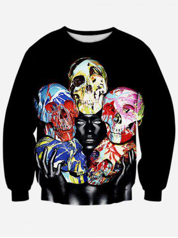 Hot Colorful Skull 3D Print Crew Neck Sweatshirt