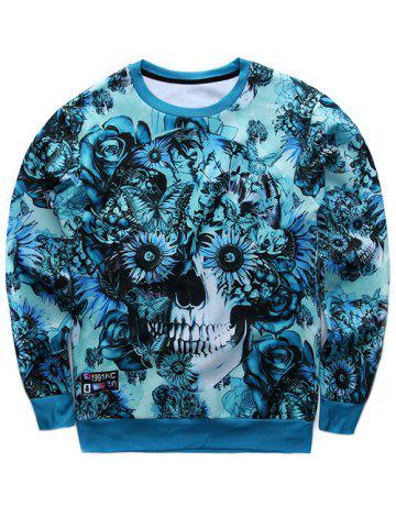 Fashion Floral Print Crew Neck Skull Sweatshirt