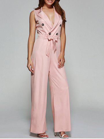 Outfits Buttoned Tied Belt Wide-Leg Jumpsuit