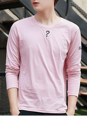 Fashion Crew Neck Long Sleeve Question Mark T Shirt PINK M