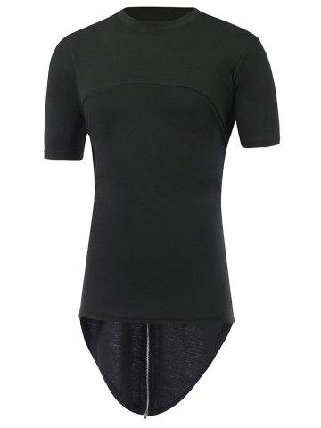 Outfits Zipper Back Round Neck High Low T-Shirt BLACK XL