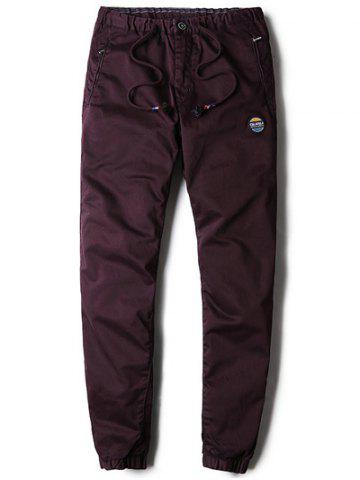 Patched Zipper Pocket Drawstring Chino Jogger Pants