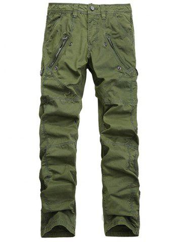 Buy Zipper Pocket Straight Leg Stitching Cargo Pants ARMY GREEN 38