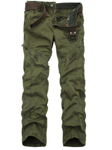 Zippered Mid-Rise Straight Leg Cargo Pants - ARMY GREEN 32