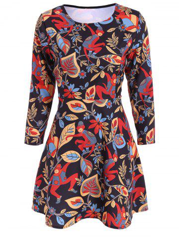 Shops Printed Long Sleeve Fit and Flare Dress