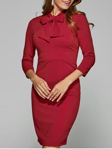 Best Back Slit Bow Tie Bodycon Dress DEEP RED 2XL
