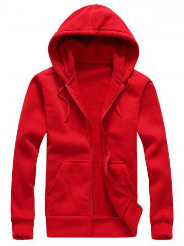 Latest Drawstring Plain Cool Zip Up Hoodies for Men RED XL