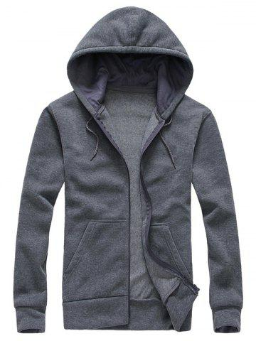 Outfit Drawstring Plain Cool Zip Up Hoodies for Men GRAY XL