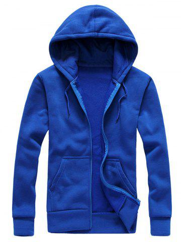 Trendy Drawstring Plain Cool Zip Up Hoodies for Men SAPPHIRE BLUE L