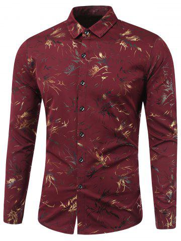 Turn-Down Collar Golden Flowers Print Long Sleeve Shirt - RED XL