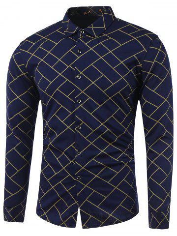 New Turn-Down Collar Irregular Argyle Print Long Sleeve Shirt YELLOW XL