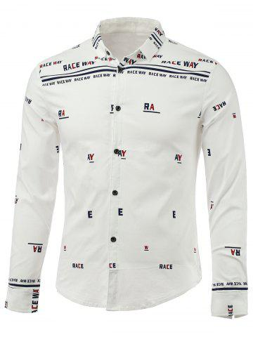 Shops Letters Print Turn-Down Collar Long Sleeve Shirt