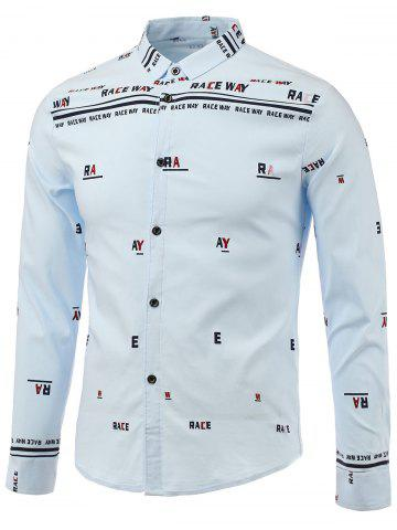 Shop Letters Print Turn-Down Collar Long Sleeve Shirt