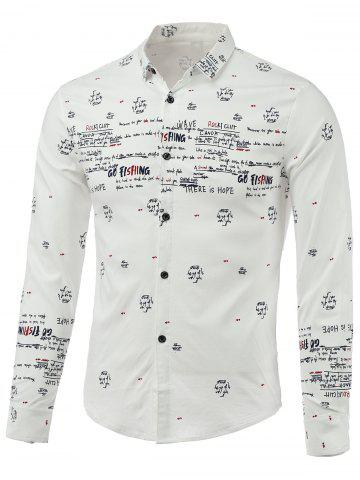 Fancy Letters Printed Turn-Down Collar Long Sleeve Shirt WHITE L