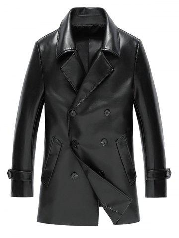 Store Notch Lapel Double Breasted Faux Leather Coat