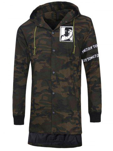 Store Graphic Print Button Up Camo Hooded High Low Coat