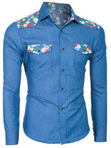 Fashion Breast Pocket Long Sleeve Floral Denim Shirt