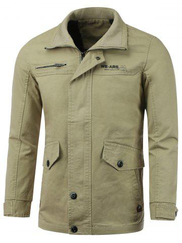 Fancy Pocket Embellished Zip-Up Lengthen Turn-Down Collar Jacket