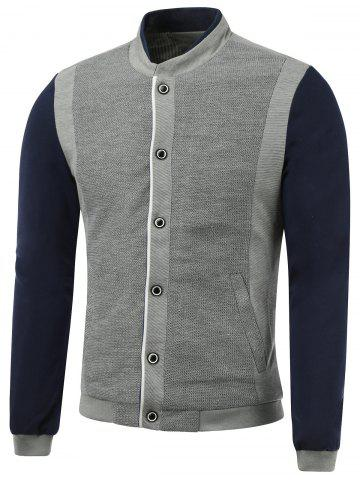 Buy Rib Spliced Color Block Stand Collar Single-Breasted Jacket
