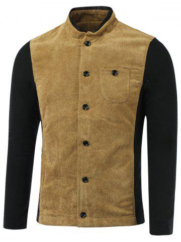 Fashion Color Block Splicing Corduroy Stand Collar Single-Breasted Jacket
