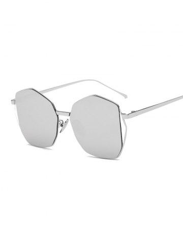 Cool Triangle Embellished Irregular Mirrored Sunglasses - Silver