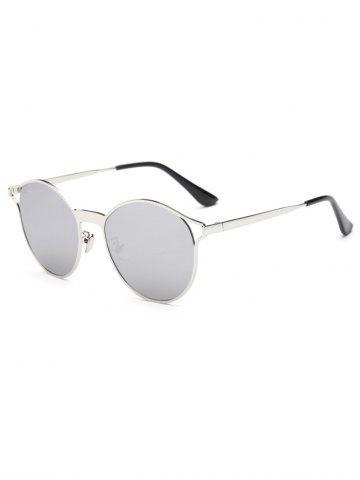 Unique Cool Hollow Out Frame Oval Mirrored Sunglasses