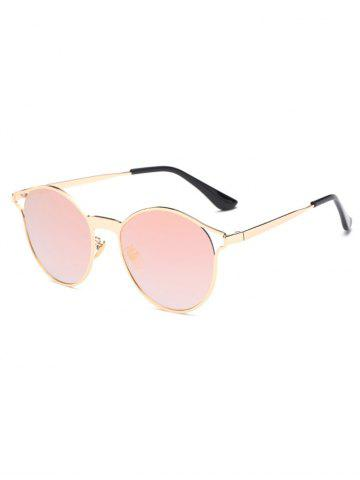 Chic Cool Hollow Out Frame Oval Mirrored Sunglasses