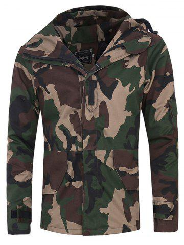 Chic Covered Zip Up Raglan Sleeve Hooded Camo Jacket