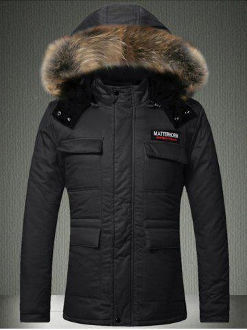 Buy Multi-Pocket Faux Fur Hooded Quilted Jacket