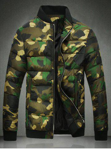 Hot Stand Collar Zip Up Camo Quilted Jacket
