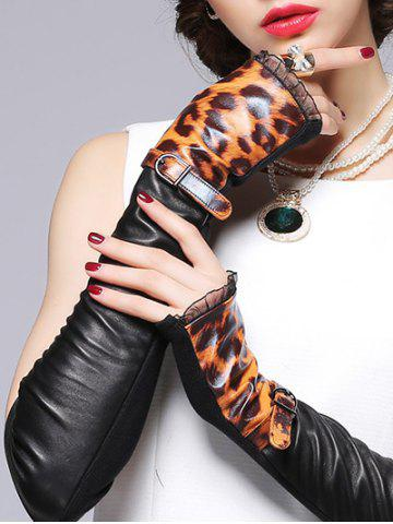 Hot Lace Edge and Belt Embellished Leopard Pattern Leather Arm Warmers