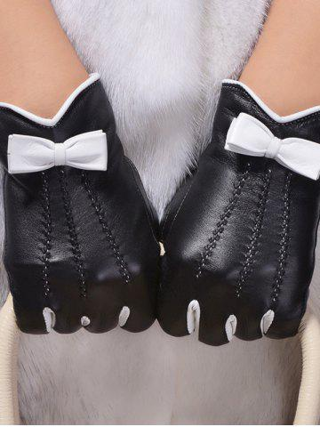 Chic Double-Deck Bowknot Wave Cut Thicken Gloves