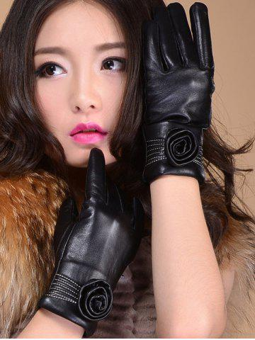 Shop Faux Leather Flower Shape and Sewing Thread Embellished Thicken Short Gloves